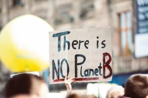 "A cardboard sign held above a crowd that reads ""there is no planet B"""