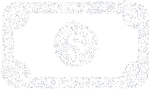 White icon of a dollar bill